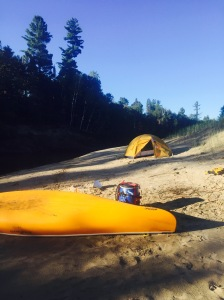 our not-a-real-campsite sandbank in the morning sun
