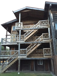 4-storey log building at sportsman's lodge